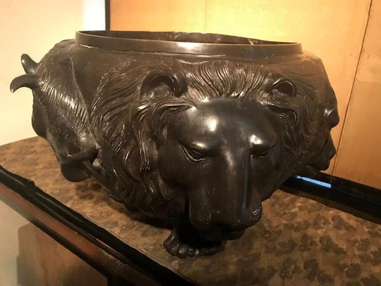 Late 19th Century Japanese Meiji Bronze Vessel With Sculpted Animal Heads For Sale