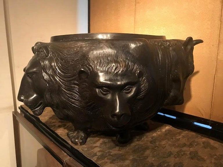 Japanese Meiji Bronze Vessel With Sculpted Animal Heads For Sale 1