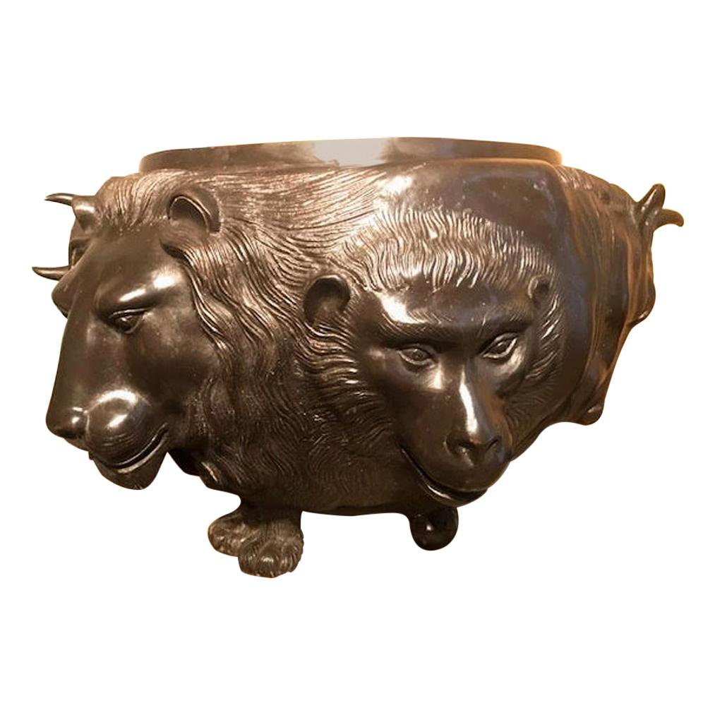 Japanese Meiji Bronze Vessel With Sculpted Animal Heads