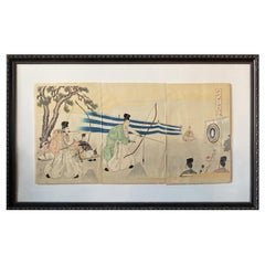 Japanese Meiji Chikanobu Toyohara Framed Woodblock Print with Archery Tournament