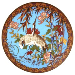 Japanese Meiji Cloisonne Enamel Plate with Cranes and Chrysanthemum Pattern