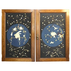 Japanese Meiji Door Carvings Featuring Owl and Parrot in Mother of Pearl & Bones
