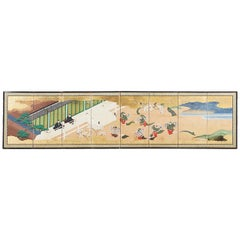 Japanese Meiji Eight-Panel Tale of Genji Screen