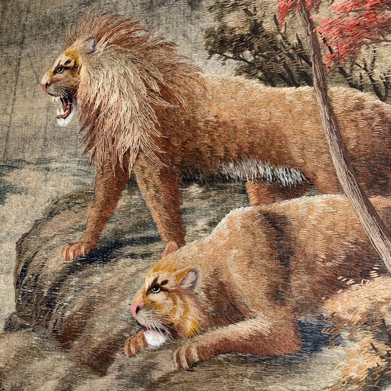 Japanese Meiji Embroidered Lions Wall Hanging For Sale 1