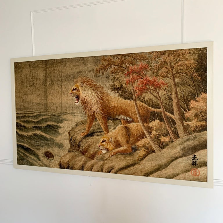 Japanese Meiji Embroidered Lions Wall Hanging For Sale 2