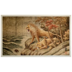 Japanese Meiji Embroidered Lions Wall Hanging