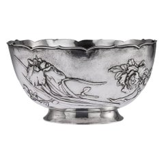 Japanese Meiji Era Silver Iris and Chrysanthemum Bowl, circa 1900