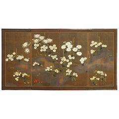 Japanese Meiji Four-Panel Moriage Style Chrysanthemum Screen