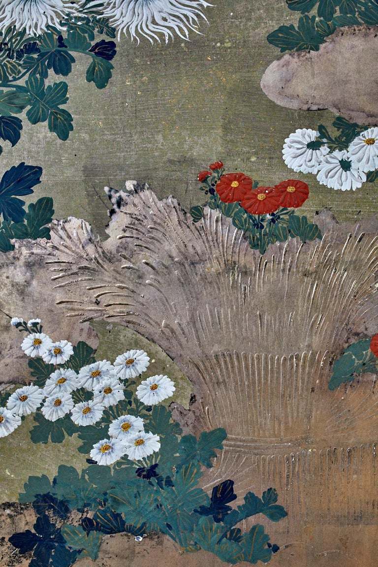 Japanese Meiji Four Panel Screen Chrysanthemums Along a Fence For Sale 4
