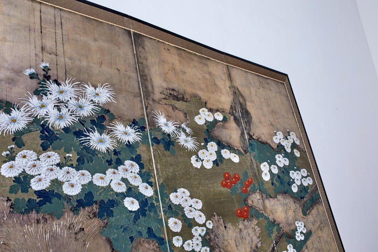 Japanese Meiji Four Panel Screen Chrysanthemums Along a Fence For Sale 5