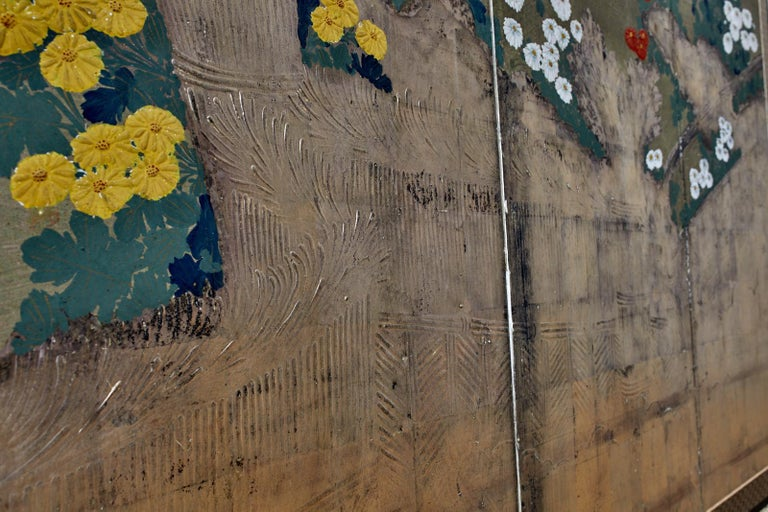 Japanese Meiji Four Panel Screen Chrysanthemums Along a Fence For Sale 6