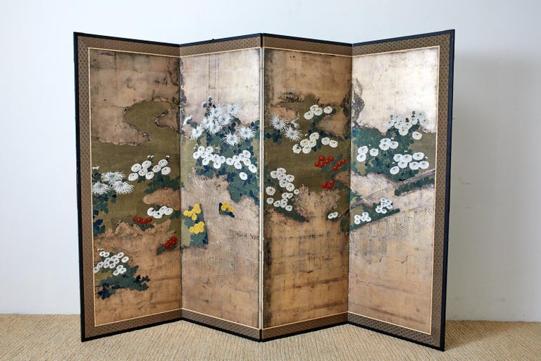 Japanese Meiji Four Panel Screen Chrysanthemums Along a Fence For Sale 7