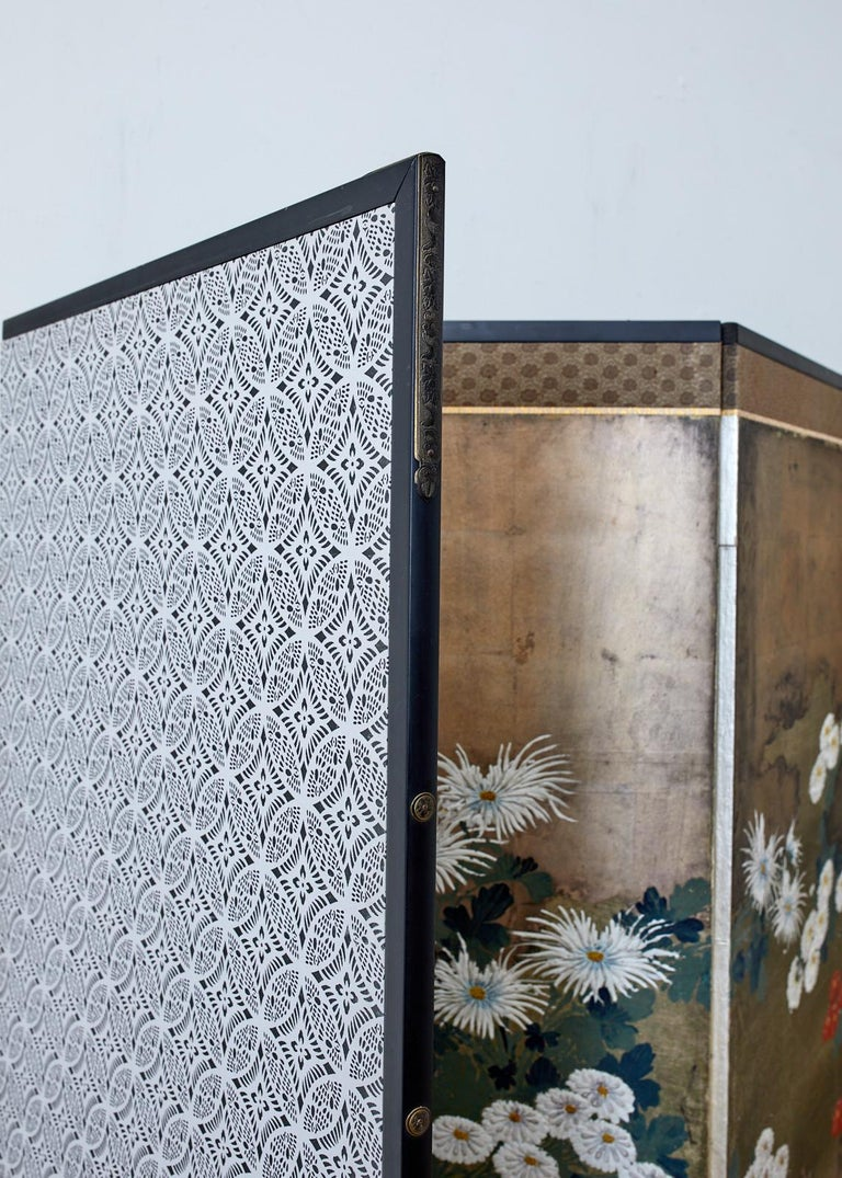 Japanese Meiji Four Panel Screen Chrysanthemums Along a Fence For Sale 9