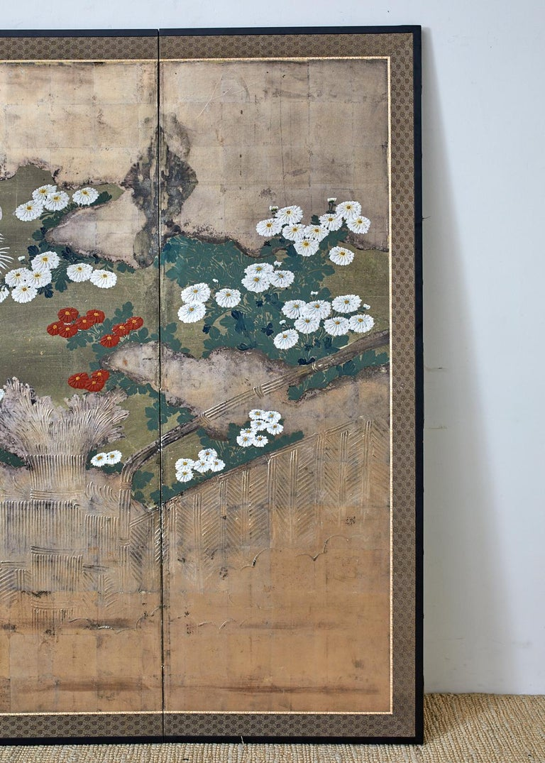 19th Century Japanese Meiji Four Panel Screen Chrysanthemums Along a Fence For Sale