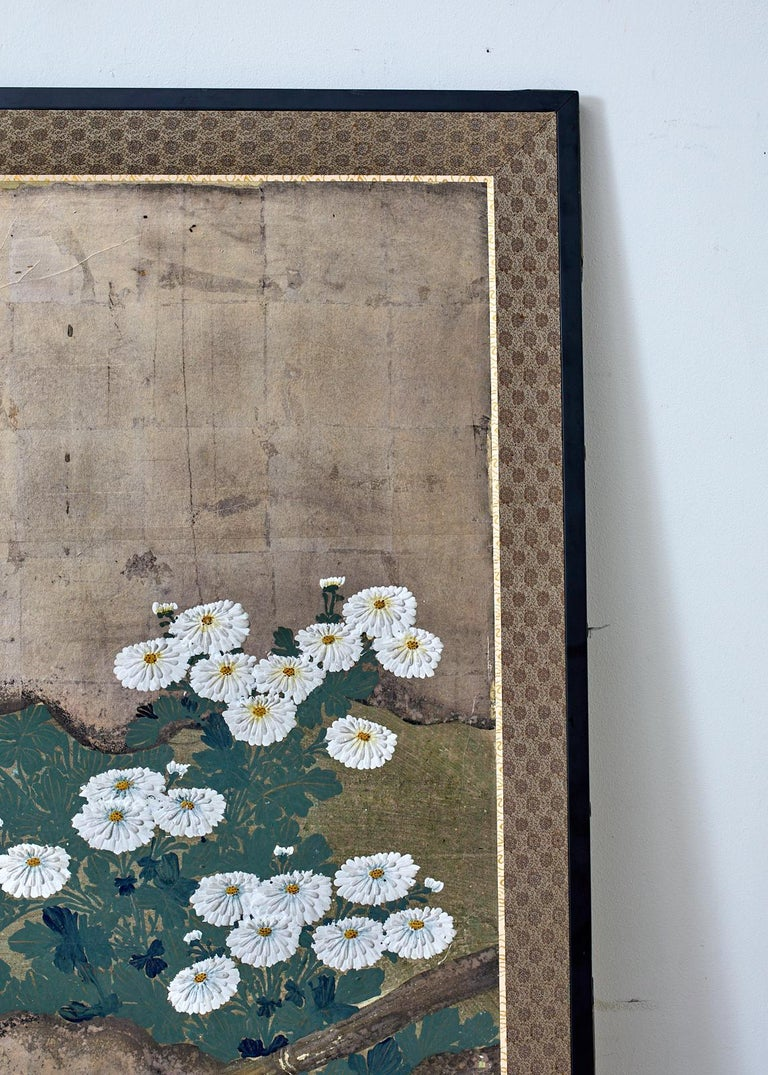 Brass Japanese Meiji Four Panel Screen Chrysanthemums Along a Fence For Sale
