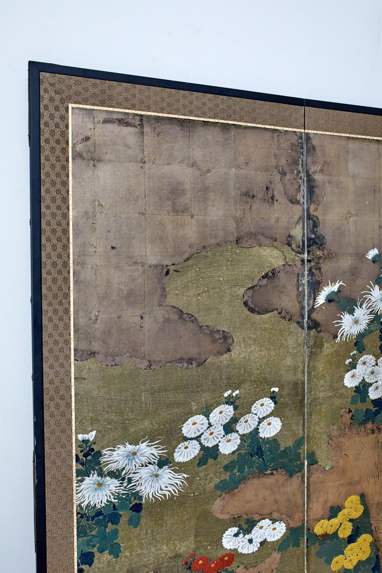 Japanese Meiji Four Panel Screen Chrysanthemums Along a Fence For Sale 1