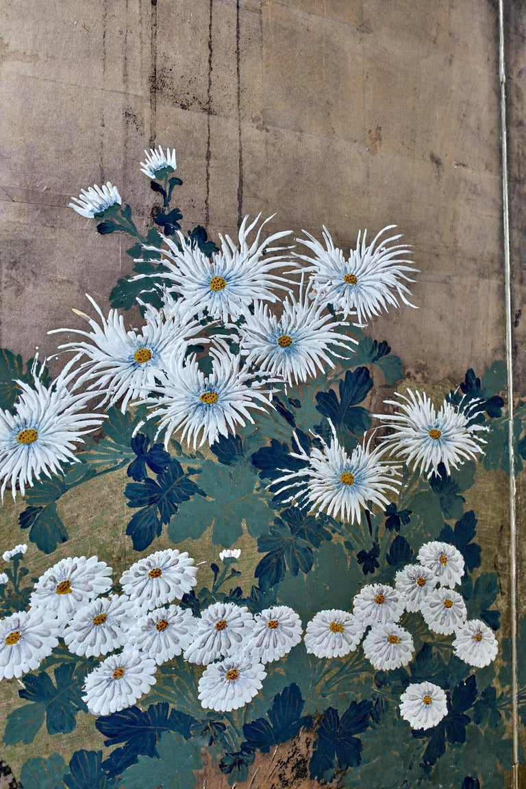Japanese Meiji Four Panel Screen Chrysanthemums Along a Fence For Sale 2