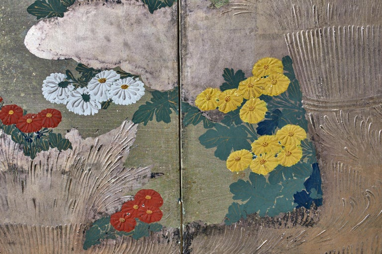 Japanese Meiji Four Panel Screen Chrysanthemums Along a Fence For Sale 3