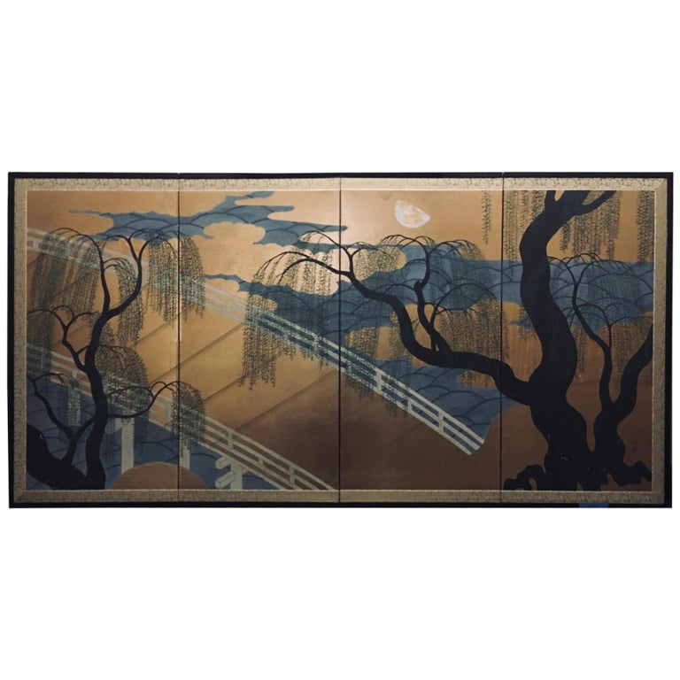 Japanese Four Panel Screen with Bridge and Weeping Willow Trees For Sale