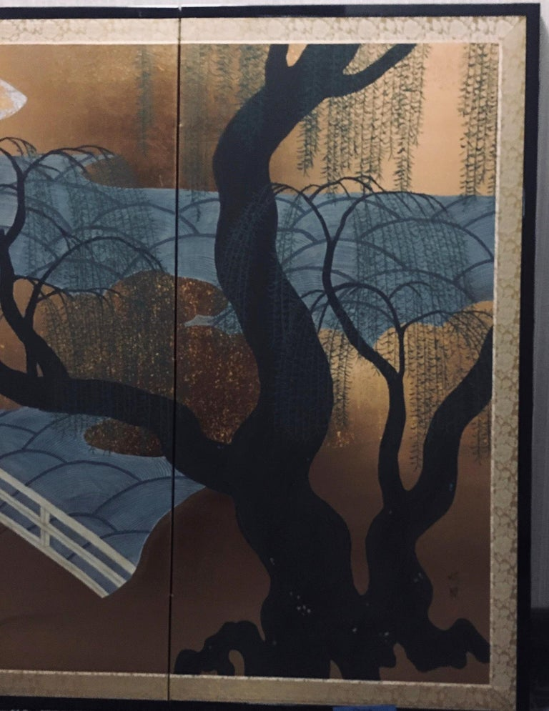 Japanese Four Panel Screen with Bridge and Weeping Willow Trees In Good Condition For Sale In New York, NY