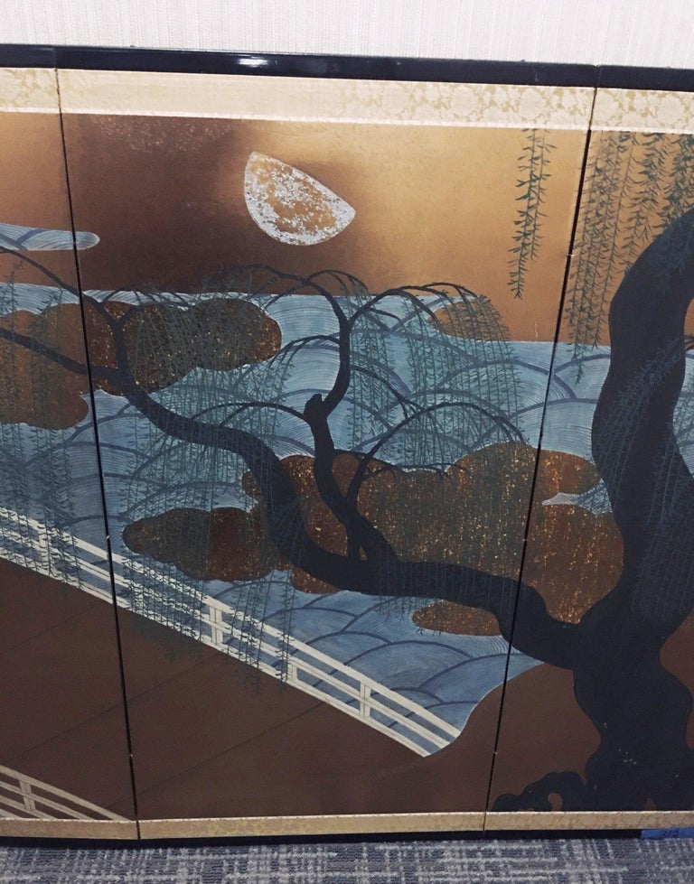 Brocade Japanese Four Panel Screen with Bridge and Weeping Willow Trees For Sale