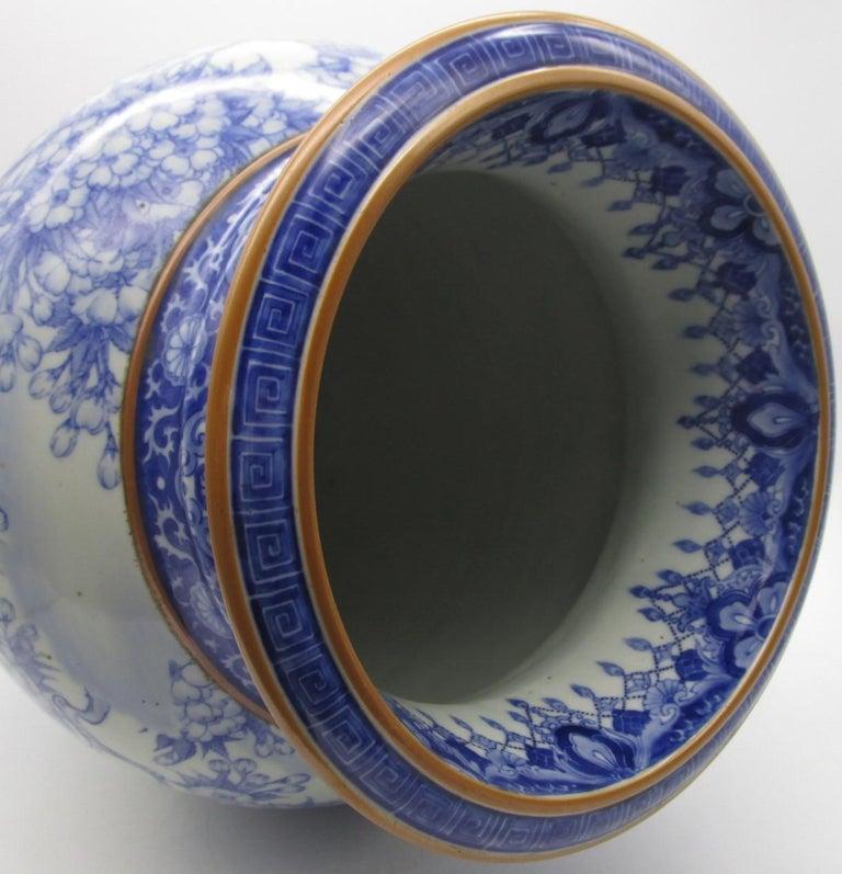 Hand-Painted Japanese Meiji Fukagawa Koransha Imari Blue Porcelain Vase, circa 1880 For Sale