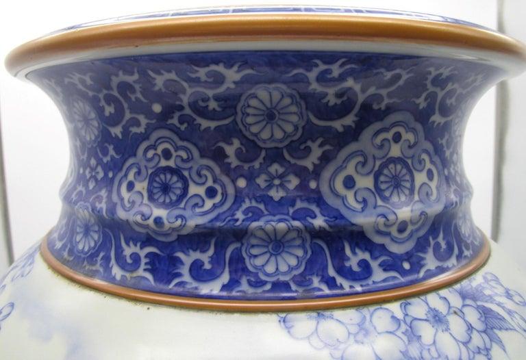 Late 19th Century Japanese Meiji Fukagawa Koransha Imari Blue Porcelain Vase, circa 1880 For Sale