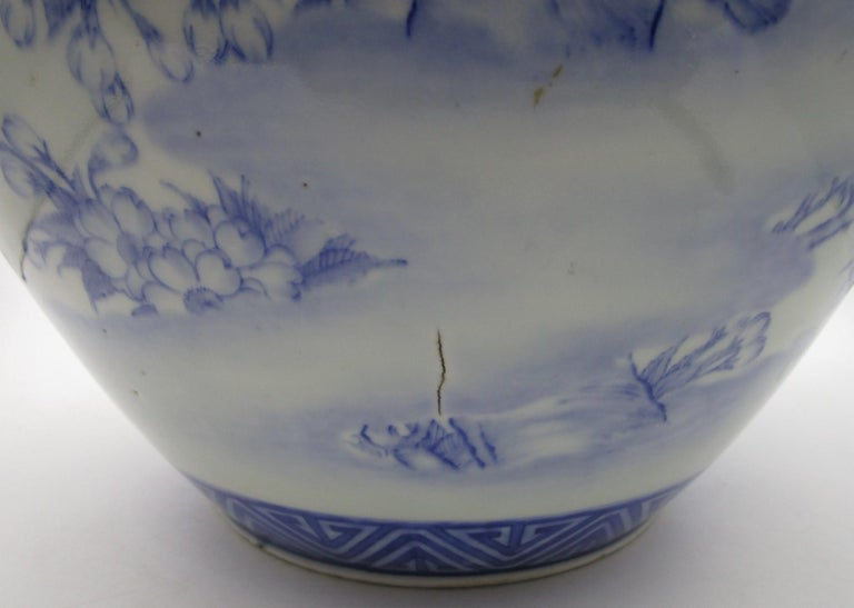 Japanese Meiji Fukagawa Koransha Imari Blue Porcelain Vase, circa 1880 For Sale 3