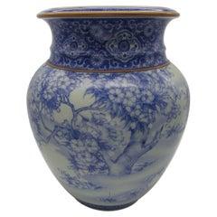 Japanese Meiji Fukagawa Koransha Imari Blue Porcelain Vase, circa 1880