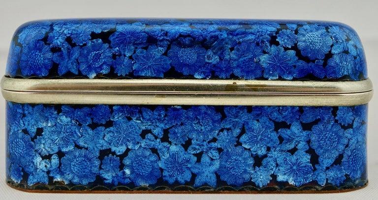 Cloissoné Japanese Meiji Ginbari Cloisonne Finely Decorated Floral Box For Sale