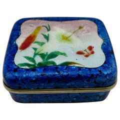 Japanese Meiji Ginbari Cloisonne Finely Decorated Floral Box