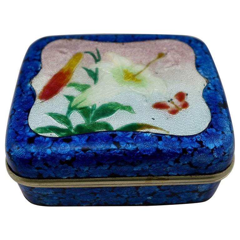 Japanese Meiji Ginbari Cloisonne Finely Decorated Floral Box For Sale