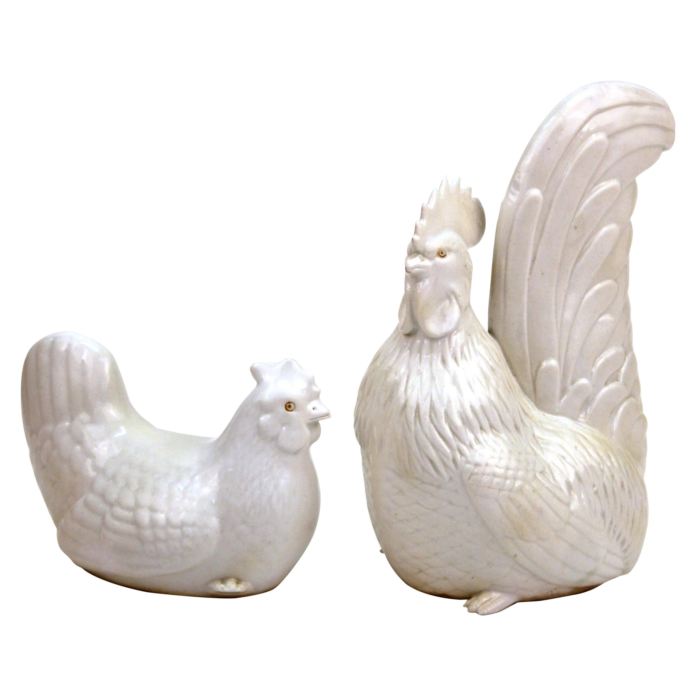 Japanese Meiji Hirado Porcelain Rooster & Hen