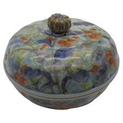 Japanese Meiji Koransha Blue Green Porcelain Jewelry Box or Trinket, circa 1880