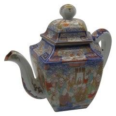 Japanese Meiji Koransha Blue Red Gold Porcelain Tea Pot, circa 1880