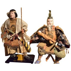 Japanese Meiji Musha Ningyo Dolls of Empress Jingū and Minister Takenouchi