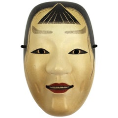 Japanese Meiji Noh Mask in Carved Wood