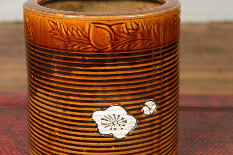 Ceramic Japanese Meiji Period 19th Century Hibachi Planter with Burnt Patina and Flower For Sale