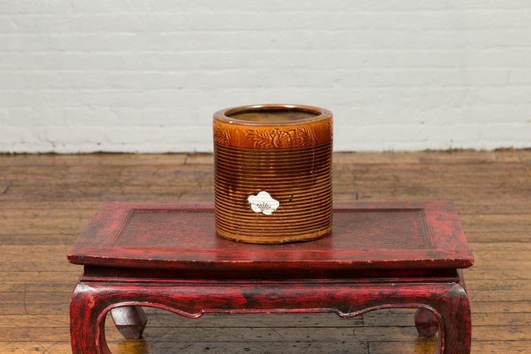 Japanese Meiji Period 19th Century Hibachi Planter with Burnt Patina and Flower For Sale 2