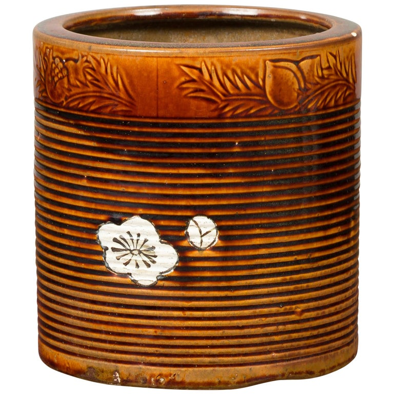 Japanese Meiji Period 19th Century Hibachi Planter with Burnt Patina and Flower For Sale