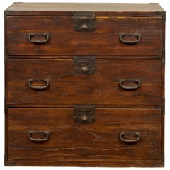 Japanese Meiji Period 19th Century Keyaki Wood Tansu Three-Drawer Clothing Chest