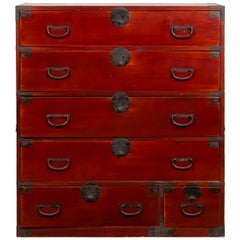 Japanese Meiji Period 19th Century Red Lacquer Tansu Chest with Iron Hardware
