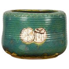 Japanese Meiji Period 19th Century Round Planter with Green Oribe Glaze