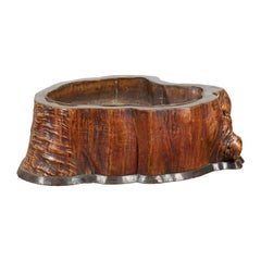 Japanese Meiji Period 19th Century Tree Trunk Hibachi with Copper Lining