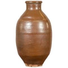 Japanese Meiji Period 19th century Water Jar with Brown Monochrome Patina