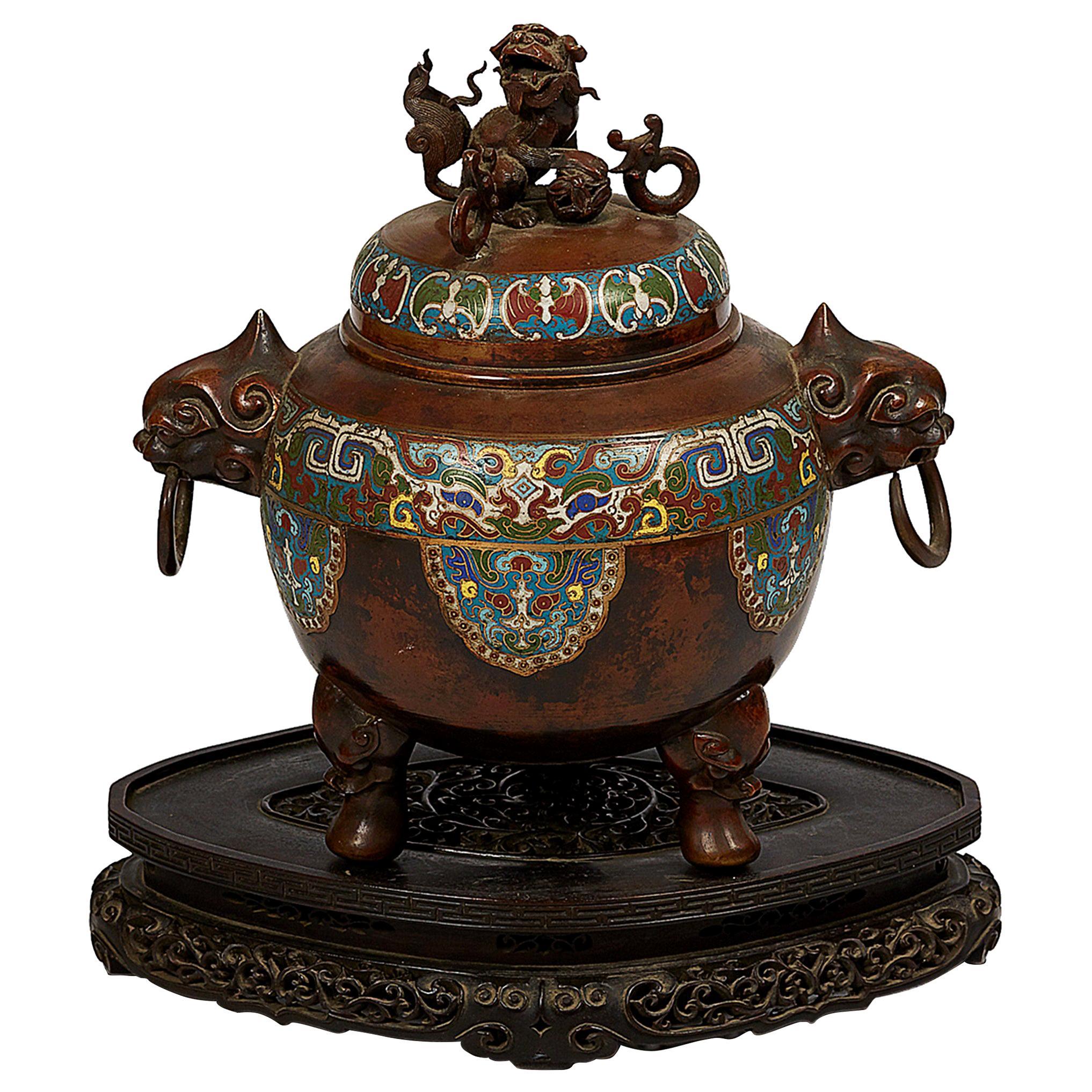 Japanese Meiji Period Bronze and Champlevé Enameled Censer