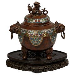 Japanese Meiji Period Bronze and Champlevé Enameled Censer