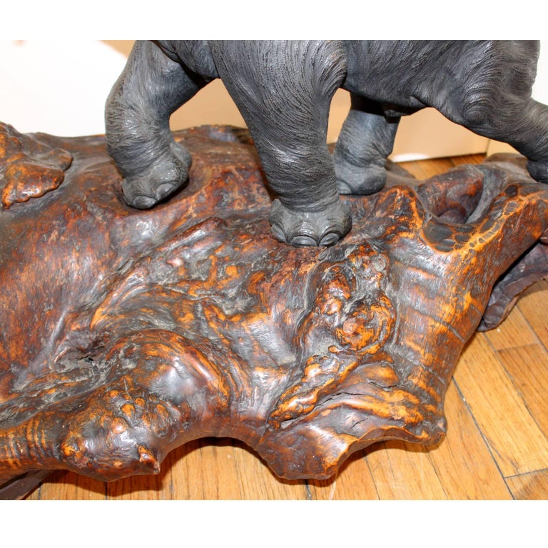 Japanese Meiji Period Bronze Elephant Sculpture on Burlwood Base For Sale 3