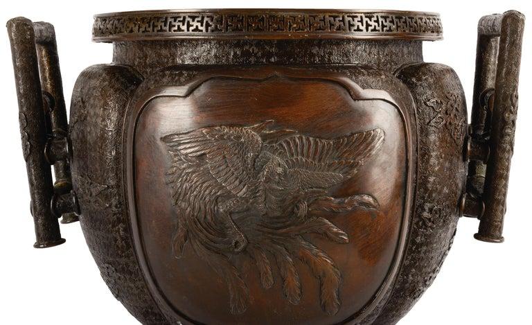 Engraved Japanese Meiji Period Bronze Jardinière, 19th Century For Sale