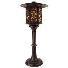 Japanese Meiji Period Bronze Lantern Table Lamp